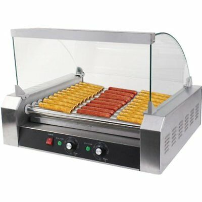Commercial 18/30 Hot Dog Hotdog 7/11 Roller Grill Cooker Machine W/ Cover (11