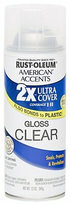 Rust Oleum 280702 American Accents Ultra Cover 2X Spray Paint, Gloss Clear, 12oz