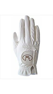 (6.5, white-crystal) - Roeckl - ladies crystal riding gloves LISBOA