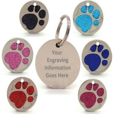 Personalised Engraved Glitter Paw Print Tag Dog Cat Pet ID Tags Reflective 25mm