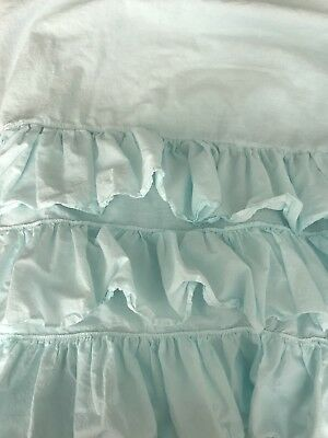 Pottery Barn Kids 3 Tier Bed Skirt Ruffle  Cotton Toddler Bed Crib Aqua Blue