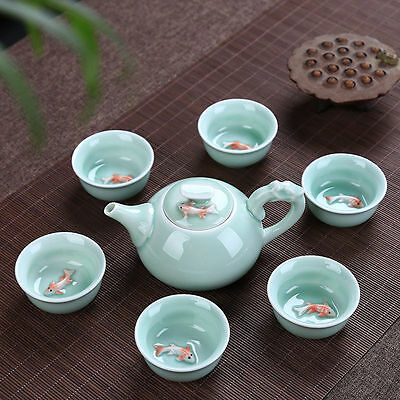 Ceramic 3D Koi Fish Kung Fu Matcha Tea Ceremony Cup Teapot Set 7pcs 003