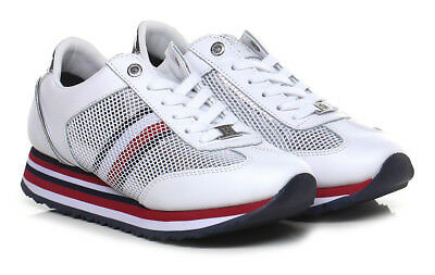 b6a831433b427 Tommy Hilfiger Fw0Fw02450 100 Sneakers Scarpe Donna Lacci Corporate Flag  White