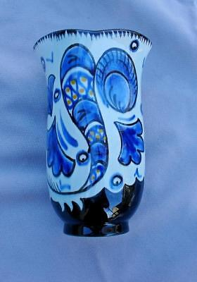 Gouda Pottery Holland Art Nouveau High Gloss Vase with  Curved opening Unusual