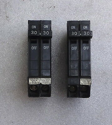 2 each GENERAL ELECTRIC THQP-230, 30 AMP 120/240 VAC 2 POLE CIRCUIT BREAKER