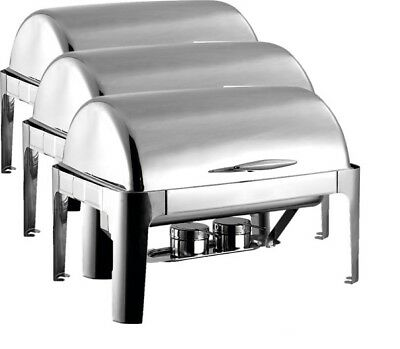 3 SETS PKG. Heavy Duty 8qt Full Size Stainless Steel Roll Top Chafer