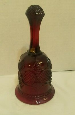"Avon Cape Cod 1876 Ruby Red Cranberry Glass 7"" Hotess Bell Mint"