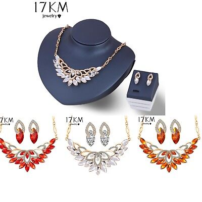 Bridal Wedding Rhinestone Crystal Pearl Necklace Earrings Jewelry Set Prom Party