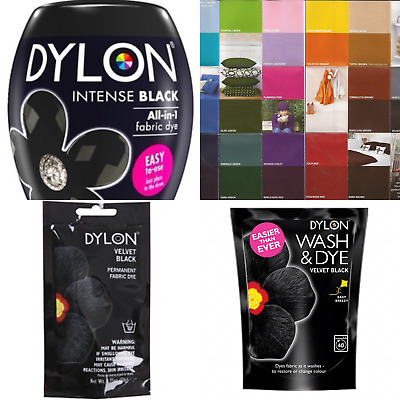 Dylon Machine wash & Dye Hand  Clothes & Fabric Dye - Black or Colour Chart