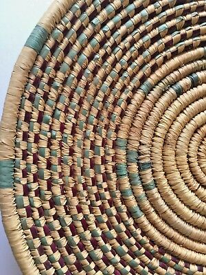 Vintage Estate Native African Tribal Coil Weave Flat Woven Wall Basket Bowl