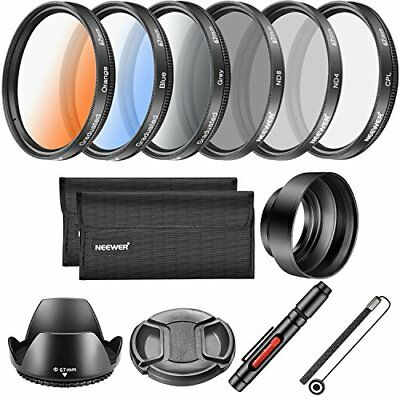 Neewer 67mm Lens Filter Accessory Kit CPL ND4 ND8 Graduated Color Filter F/S I