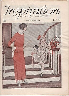 January 1924 Inspiration Magazine Woman's Institute Vintage Fashion Millinery