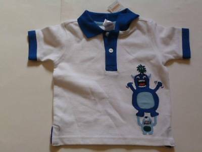 GYMBOREE Space Voyager White Golf/Polo Shirt Aliens Size 6-12 mos 2T NEW