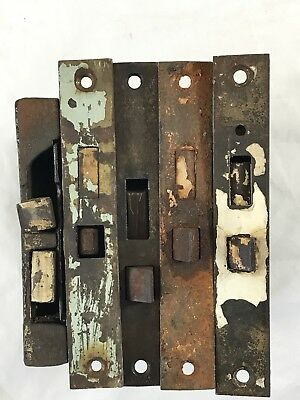 Lot of 5 Antique Vintage Box Mortise Door Bodies with Faceplates - For Parts