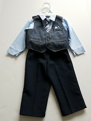 Retro baby boys 4 piece gray and blue suit 6-9 months