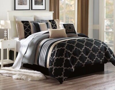 Beautiful Black Duvet Taupe Silver Pattern Comforter Bed Cover Set Alex #2