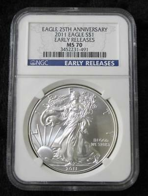 2011 American Silver Eagle * NGC Graded MS70 * Early Release * Blue Label