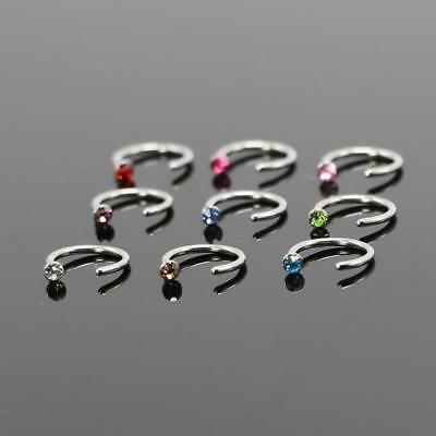 5pcs Mixed Color 6mm Nose Piercing Jewelry Surgical Steel Hoop Nose Rings and St