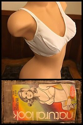 Vintage 1970s NATURAL LOOK Camisole Bra Bi-Flex White Wide Straps USA Nylon 36C