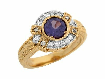 10k or 14k Real Gold Simulated Alexandrite White CZ Vintage Style Ladies Ring