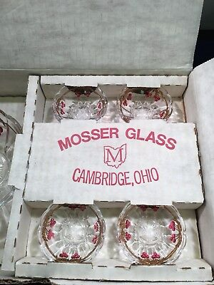 Mosser Glass Old Northwood Cherry & Cable Berry Dish And Berry Bowls. Miniatures