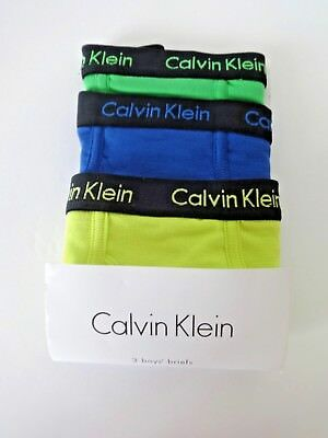CALVIN KLEIN BOYS BRIEFS SIZE S 6 to 7 GREEN BLUE YELLOW 3 PACK