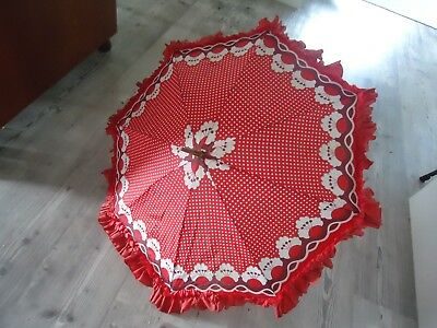 vintage retro  art deco red ladies umbrella polka dot frill parasol