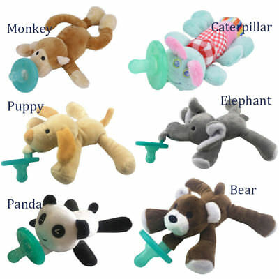 Boy Girl Kids Animal Baby Nipple Infant Silicone Pacifiers with Cuddly Plush Toy