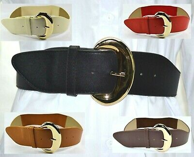 AU Fashion Golden Pin Oval Buckle Adjustable Woman Elastic Stretch Waist Belt G1