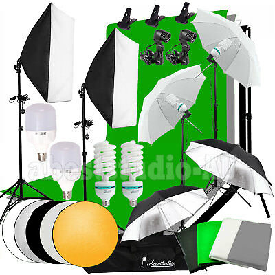1850W Photography Studio Video Lighting Softbox 4X Backdrop Background Stand Kit
