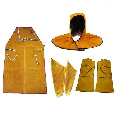 Leather Welding Welders Apron Sleeves Flame-Resistant Work Safety Workwear