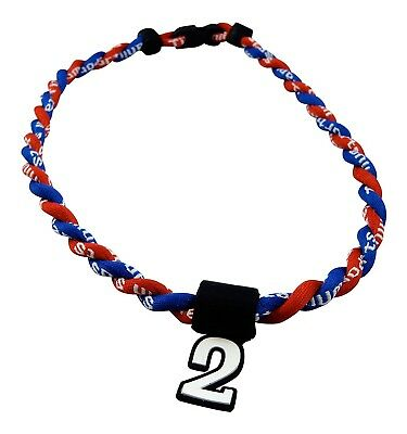 (Royal Red) - Pick Your Number - Twisted Titanium Sports Tornado Necklace