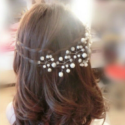 Women1PC/5PCS Wedding Party Bridal White Prom Pearl Flower Hair Clip Pin Jewelry