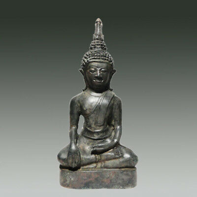 Antique Bronze Laos Meditating Sakaymuni Buddha 18th Century