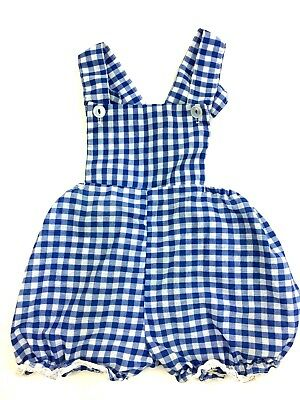 Vintage Toddlers Childs Kids Lace Trim Girls Gingham Blue Bubble Rompers 18/24?