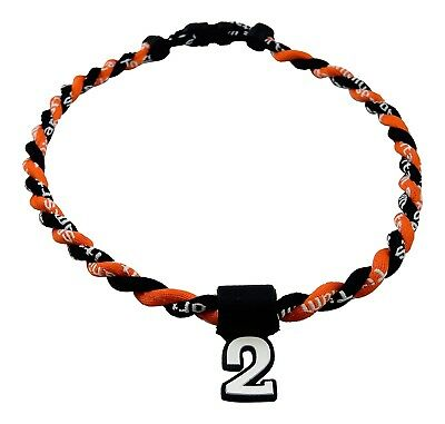 (Orange Black) - Pick Your Number - Twisted Titanium Sports Tornado Necklace