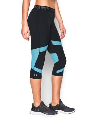 (Large, Black/Sky Blue) - Under Armour Women's CoolSwitch Capri