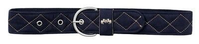 (Large, Navy/Safari) - Equine Couture Quilted Suede Belt. Huge Saving