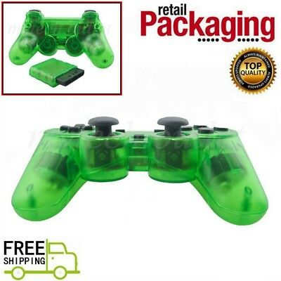 New Clear Green Wireless 2.4G Twin Shock Game Controller For PS2 Joystick Joypad