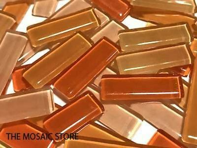 Orange Mixed Glass Rectangles | Mosaic Tiles Supplies Art Craft