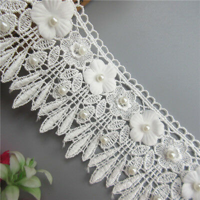 Wholesale 13yards/lot 7.2cm White Embroidered Lace Edge Trim Ribbon Sewing Craft