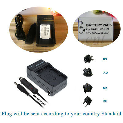 Battery +Wall Travl Home Charger For NIKON EN-EL11 Coolpix S550 Coolpix S560
