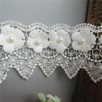 Wholesale 13yards/lot 6cm White Embroidered Lace Edge Trim Ribbon Sewing Craft