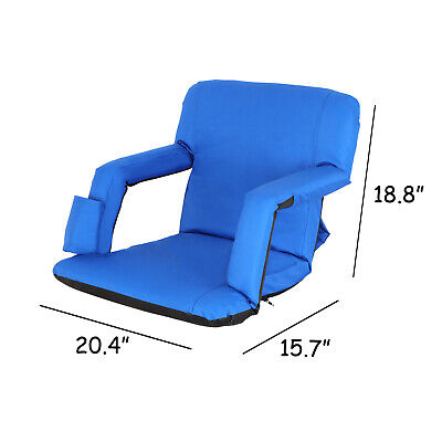 Blue Stadium Seats Chairs for Bleachers Wide Waterproof  - 5 Reclining Positions