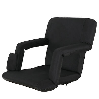 Wide Ergonomics Stadium Seats Chairs For Bleachers - 5 Reclining Positions Black