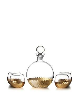 Fitz and Floyd Daphne 5 Piece Decanter Set, Gold. Shipping is Free