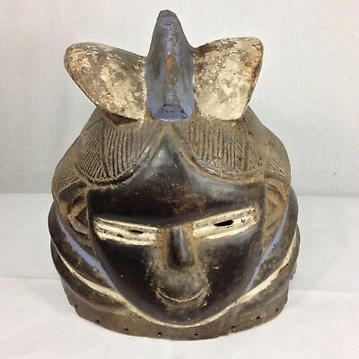 Rare Double Sided Painted Carved Wood Mende Mask Helmet From Sierra Leone