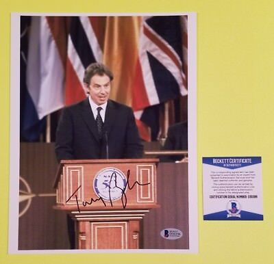 "Tony Blair signed 8""X10"" photo Former British Prime Minister + Beckett BAS COA"