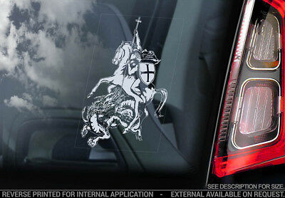 Knights Templar - Car Window Sticker - St George & The Dragon Masonic Decal -V05