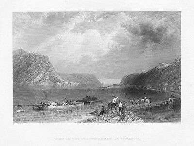 View on the Susquehanna at Liverpool, Pennsylvania - Antique Print 1840